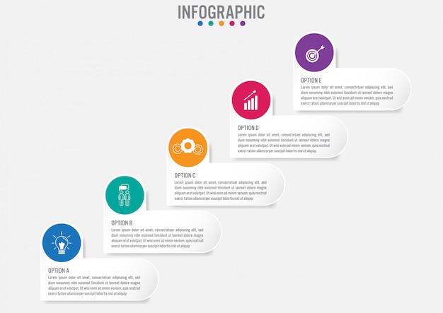 Modèle d'étiquettes infographie métier avec 5 options