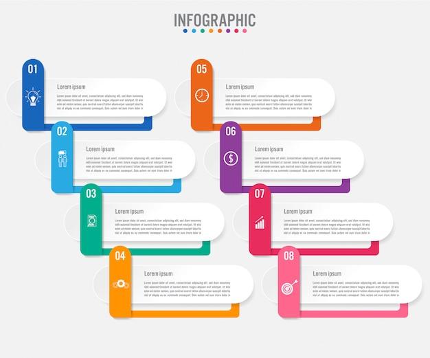 Modèle d'étiquettes infographie métier avec 8 options