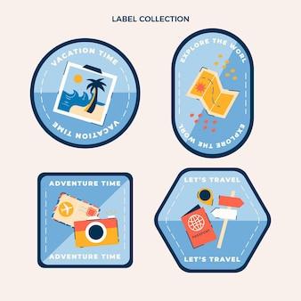Modèle d'étiquettes de voyage design plat