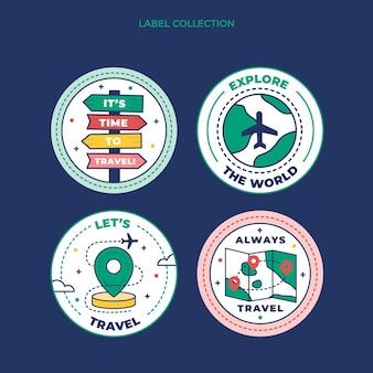 Modèle d'étiquettes de voyage plat