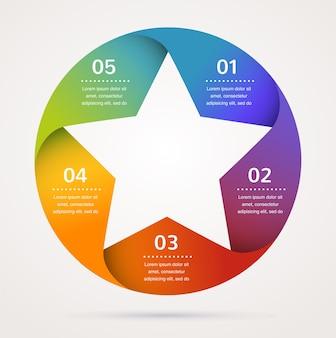 Modèle d'étoile et infographie, fond abstrait