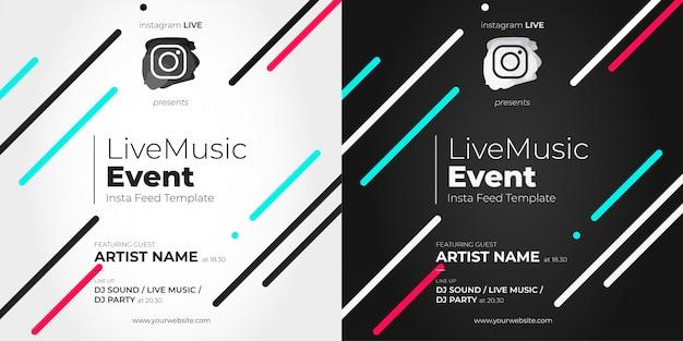 Modèle d'événement en direct instagram avec des lignes