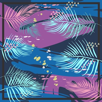 Modèle exotique abstrait carré couleurs pastel colorées