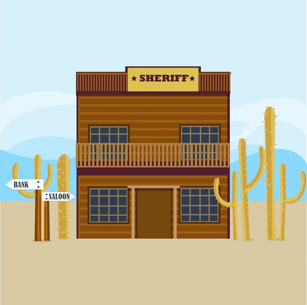 Modèle de façade de maison de shérif occidental
