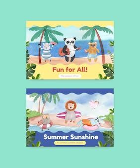 Modèle facebook avec des animaux en été dans un style aquarelle