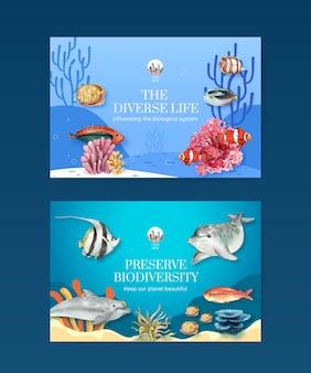 Modèle Facebook Avec La Biodiversité En Tant Qu'espèce Sauvage Ou Protection De La Faune Vecteur Premium
