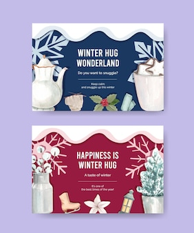 Modèle facebook avec câlin d'hiver dans un style aquarelle