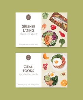 Modèle facebook avec concept d'alimentation saine, style aquarelle