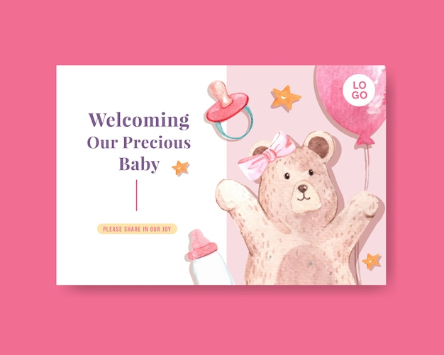 Modèle facebook avec concept de design de douche de bébé pour les médias sociaux et illustration vectorielle aquarelle marketing en ligne.