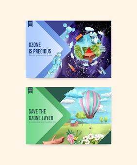 Modèle facebook avec concept de la journée mondiale de l'ozone, style aquarelle