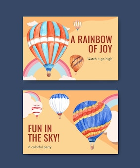 Modèle facebook avec conception de ballon fiesta pour le marketing numérique et les médias sociaux illustration vectorielle aquarelle