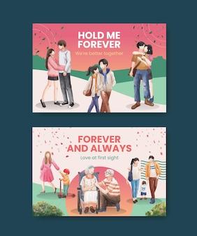 Modèle facebook avec conception de concept d'amour paradis pour les médias sociaux et illustration aquarelle de marketing en ligne