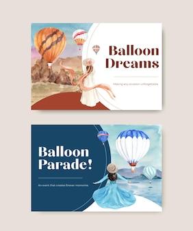 Modèle facebook avec conception de concept ballon fiesta pour le marketing numérique et l'illustration aquarelle des médias sociaux