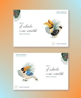 Modèle facebook avec conception de concept contemporain tropical pour les médias sociaux et illustration aquarelle de marketing en ligne