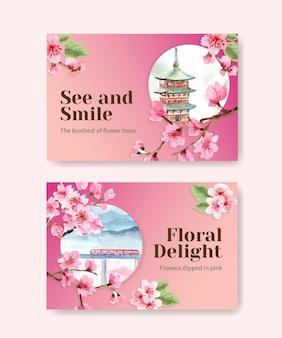 Modèle facebook avec conception de concept de fleur de cerisier pour les médias sociaux et illustration aquarelle communautaire