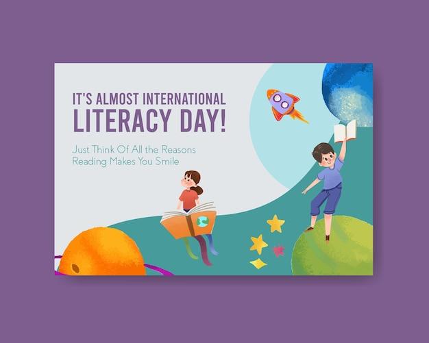 Modèle facebook avec conception de concept de journée internationale de l'alphabétisation pour le marketing en ligne et l'aquarelle sur internet.