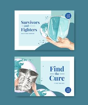 Modèle facebook avec conception de concept de journée mondiale du cancer pour les médias sociaux et illustration vectorielle aquarelle marketing en ligne.