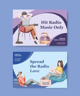 Modèle facebook avec conception de concept de journée mondiale de la radio pour les médias sociaux et l'illustration aquarelle communautaire
