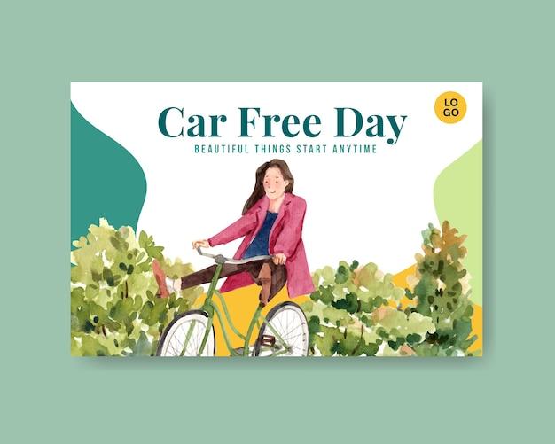Modèle facebook avec la conception de concept de la journée mondiale sans voiture pour les médias sociaux et l'aquarelle internet.