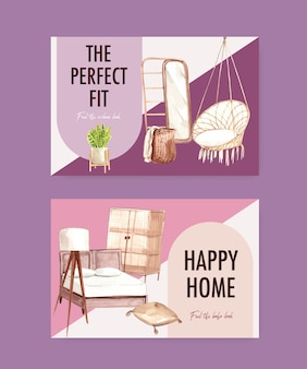 Modèle facebook avec conception de concept de meubles boho pour les médias sociaux et l'illustration aquarelle de marketing en ligne