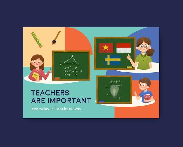 Modèle facebook avec la conception du concept de la journée des enseignants