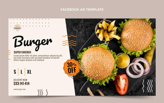 Modèle facebook de hamburger plat