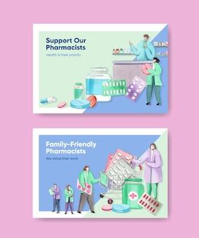 Modèle facebook avec la journée mondiale des pharmaciens dans un style aquarelle