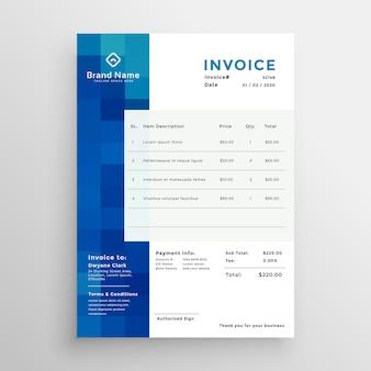 Modèle de facture d'affaires bleu créatif abstrait