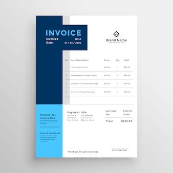 Modèle de facture d'affaires propre bleu