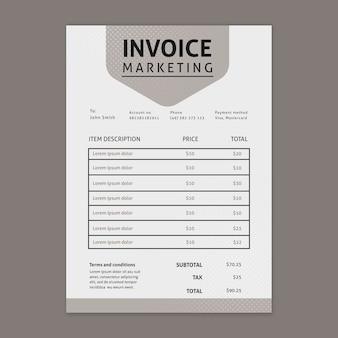 Modèle de facture commerciale marketing