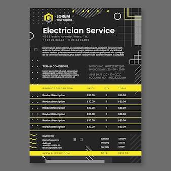 Modèle de facture d'électricien sombre