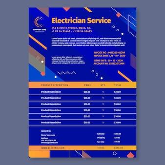 Modèle de facture d'électricien