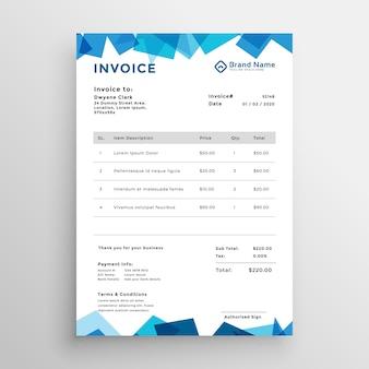 Modèle de facture élégante abstrait bleu