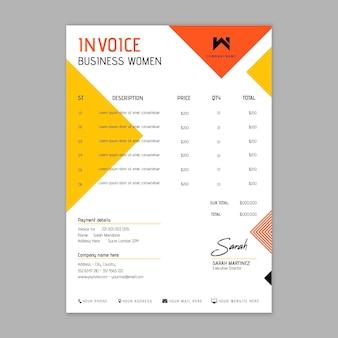 Modèle de facture de femme d'affaires