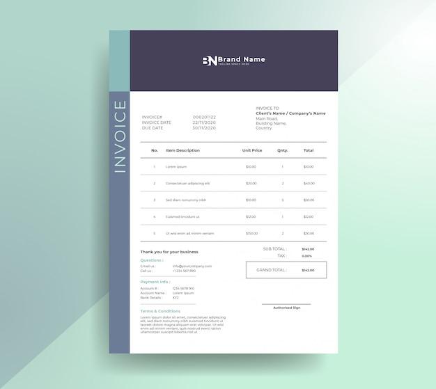 Modèle de facture moderne et propre