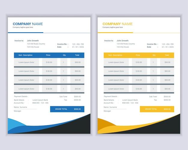 Modèle de factures d'argent ou de factures de prix.