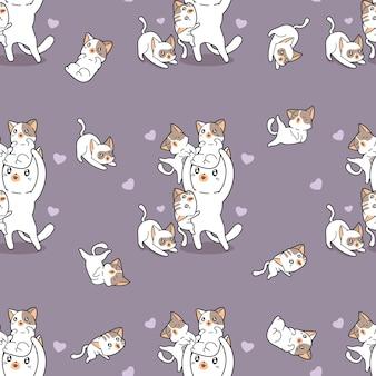 Modèle de famille de chat sans couture