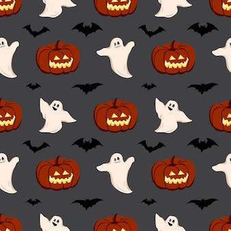 Modèle avec des fantômes de citrouilles et des chauves-souris pour halloween
