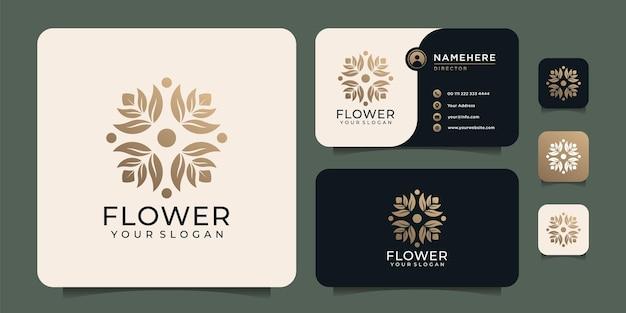 Modèle féminin de conception de logo de fleur de luxe de mode de beauté