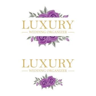 Modèle féminin de logo floral pour organisateur de mariage