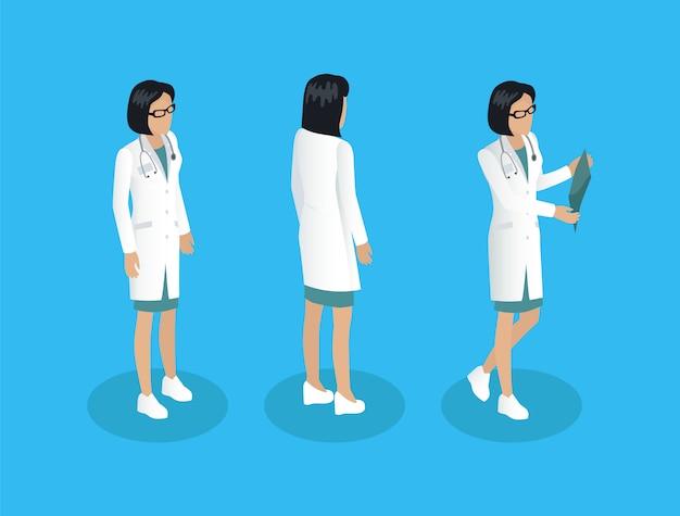Modèle de femme médecin travailleur différents angles