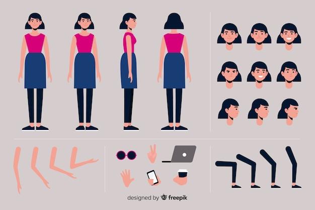 Modèle femme personnage de dessin animé