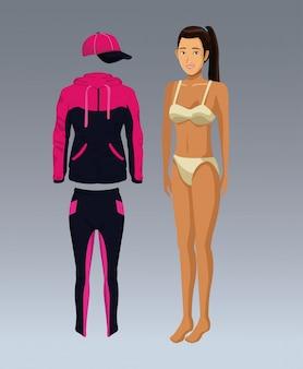 Modèle femme avec vecteur de vêtements de remise en forme