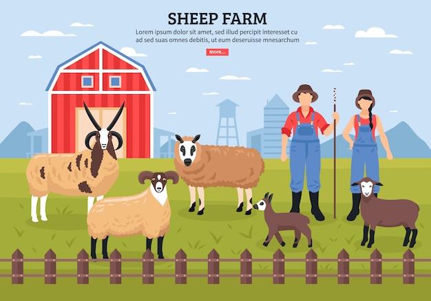 Modèle de ferme de moutons