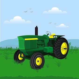 Modèle de ferme de vecteur isolé de tracteur