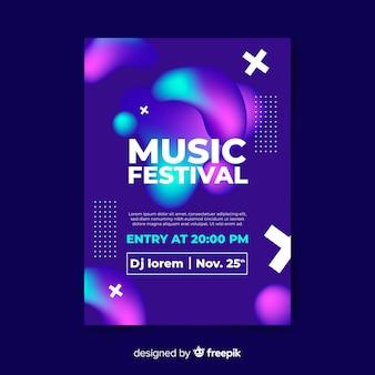 Modèle de festival de musique abstraite avec effet liquide