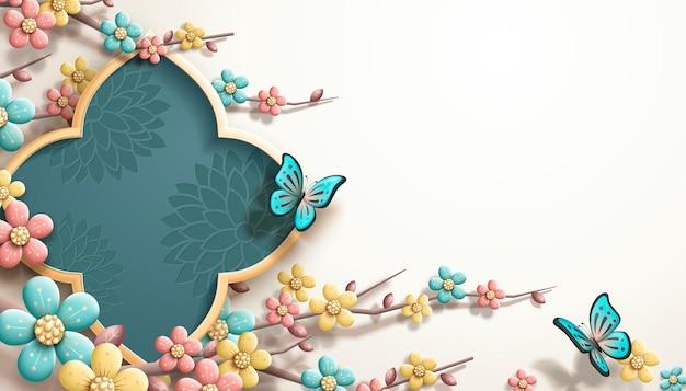 Modèle de festival de printemps avec des fleurs de prunier colorées et des papillons
