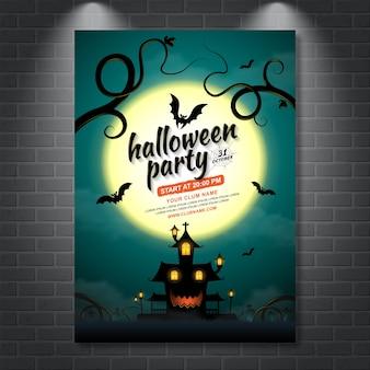 Modèle de fête affiche halloween hanté maison et chauves-souris