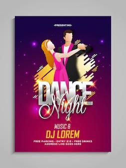 Le modèle de fête de danse de couple, le dépliant de danse, la fête de nuit ou la présentation d'invitation de club avec des détails.