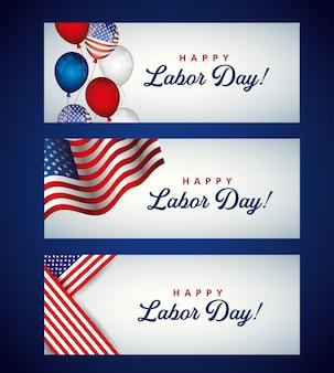 Modèle de fête du travail heureux avec illustration de ballons et de drapeaux